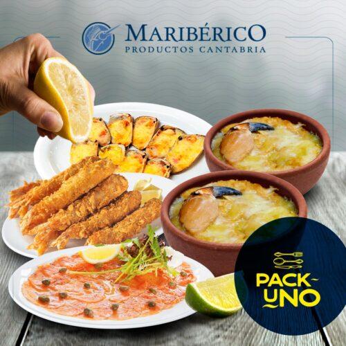 Pack Uno – 2 Pastel Jaiba + 1 Camarón Tempura + 1 Bandeja Machas Parmesanas + 1 Carpaccio Salmon