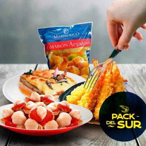 Pack Del Sur – 1 Lasaña Sureña 3-4 P + ½ Kilo Ostion C/coral + 1 Bandeja Camaron Tempura 10 U