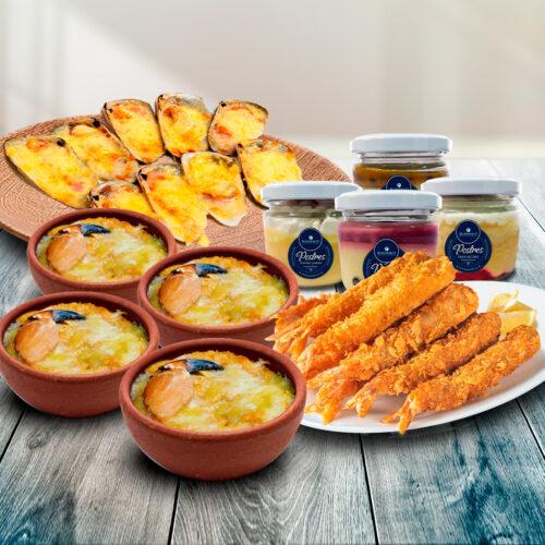 Pack Full Familia – 4 Pasteles Jaiba + Machas U Ostiones Parmesanos – Camarones Tempura + 4 Postres